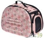 Ibiyaya складная сумка переноска для собак и кошек до 6 кг бледно-розовая в цветочек
