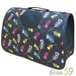 Keiko Сумка черная с принтом Перышки S 37x17x24см