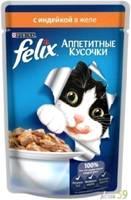 Felix Аппетитные кусочки для кошек индейка в желе 85гр