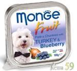 Monge Dog Fruit консервы для собак индейка с черникой 100г