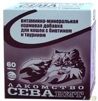 СЕВАвит для кошек с биотином и таурином 60таб.