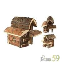 Дом двухэтажный для мелких грызунов деревянный 28x18x20см
