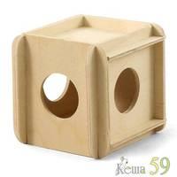 Домик кубик для мелких животных 11x10x10см