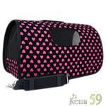 Keiko Сумка черная с принтом Розовые сердечки L 50x22x30см