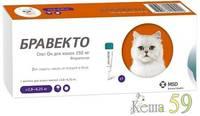 Бравекто капли для защиты кошек 2,8-6,2 кг от клещей и блох