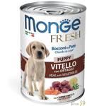 Monge Dog Fresh Chunks in Loaf консервы для щенков мясной рулет с телятиной и овощами 400г