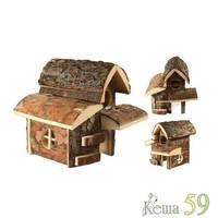Домик деревянный для грызунов с балконом 21x21x21см