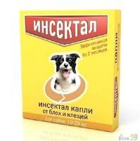 Инсектал капли от блох и клещей для собак 10-20 кг 1 пипетка
