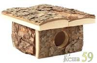Домик для мелких животных из неокоренного дерева 14x18x9см