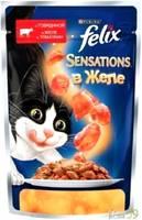 Felix Sensations для кошек говядина с томатами в желе 85гр